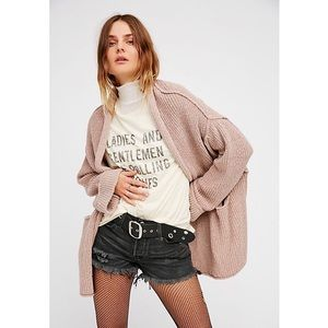Free People Low Tide Duster Knit Cardigan-Pink, XS